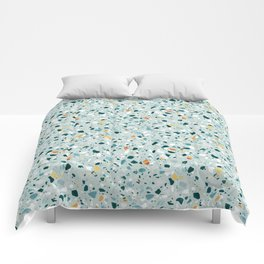 Mint Terrazzo #pattern #abstract Comforters