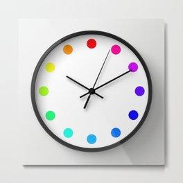clock dots - color option white Metal Print