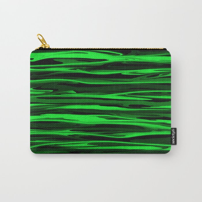Lime Green and Black Stripes Carry-All Pouch