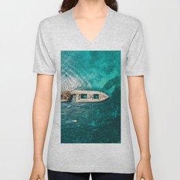 Ay Ay Captain, Aerial Print, Shipwreck Print, Art Print, Modern Wall Art, Sea Print, Ocean Print Unisex V-Neck