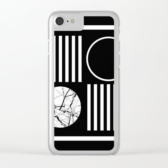 Retro Marble 2 - Abstract, geometric, black and white, bold, modern design Clear iPhone Case