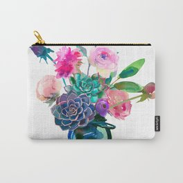 Watercolor flowers in mason jar Carry-All Pouch