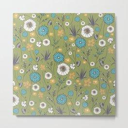 Emma_Wildflowers in Avocado Green Metal Print