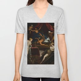 """Tintoretto (Jacopo Robusti) """"Hercules Expelling the Faun from Omphale's Bed"""" Unisex V-Neck"""