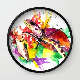 Sea Turtle in Coral Sea Wall Clock