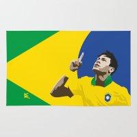 brasil Area & Throw Rugs featuring Neymar Brasil 2 by lockerroom51