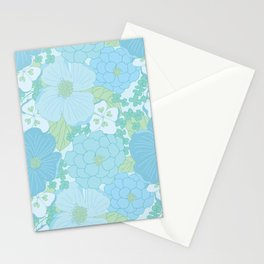 Light Blue Pastel Vintage Floral Pattern Stationery Cards