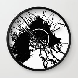 Form Out Of Chaos - Black and white conceptual abstract Wall Clock