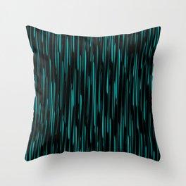 Vertical cross light blue lines on a dark tree. Throw Pillow