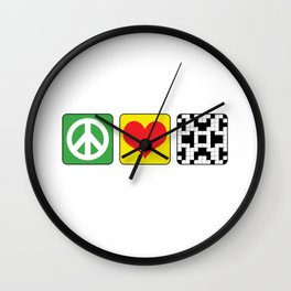 Peace Love Crossword Puzzle Geek Numbered Squares Puzzlers Thinking Gift Wall Clock