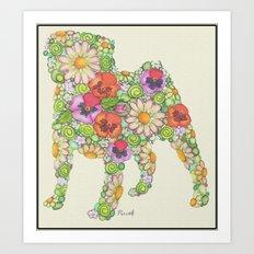 Garden Pug Art Print