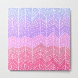 Random Chevron Stripes in Blue Lavender and Pink Metal Print