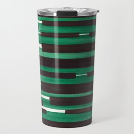 Deep Green Turquoise Primitive Stripes Mid Century Modern Minimalist Watercolor Gouache Painting Col Travel Mug