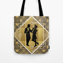 Black and Gold Roaring Twenties Silhouette Couple Tote Bag