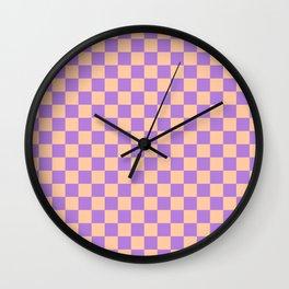 Deep Peach Orange and Lavender Violet Checkerboard Wall Clock