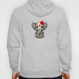 Deep Red Day of the Dead Sugar Skull Baby Elephant Hoody
