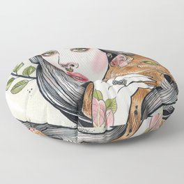 The Girl and Her Cat Floor Pillow