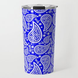 Paisley (White & Blue Pattern) Travel Mug
