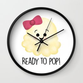 Ready To Pop - Popcorn Pink Bow Wall Clock