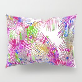 Modern pink hand painted watercolor palm trees  Pillow Sham