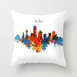 Dallas Watercolor Skyline Throw Pillow
