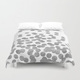 Silver Glitter Drops in bold and cute modern minimal colors for trendy gifts and glitter phone case Duvet Cover