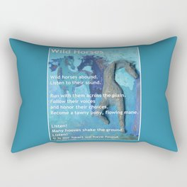Wild Horses: Poem and Painting Rectangular Pillow