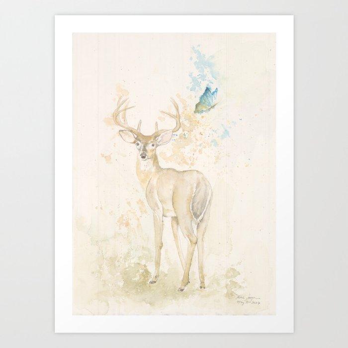 Deer and butterfly Art Print
