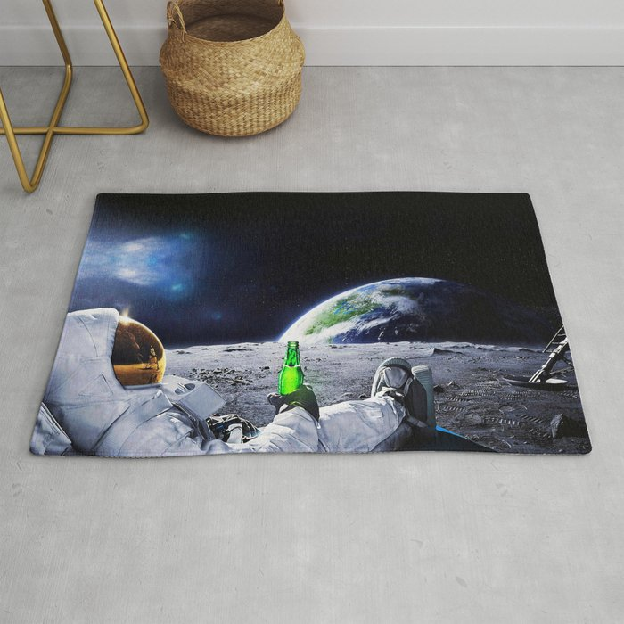 Astronaut on the Moon with beer Rug