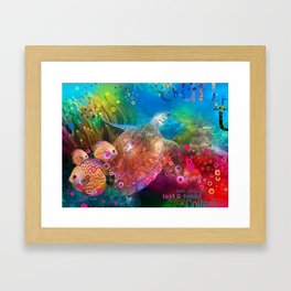 Sea Turtle In Living Color Framed Art Print