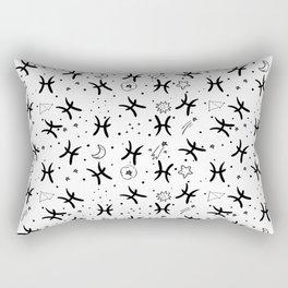 Pisces zodiac sign hand drawn seamless pattern Rectangular Pillow