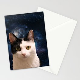 black and white galaxy kitty Stationery Cards