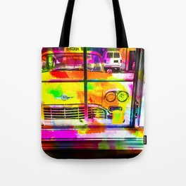 yellow classic taxi car with colorful painting abstract in pink orange green Tote Bag