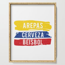 Arepas Cerveza Beisbol print Colombian baseball fan Gift Serving Tray