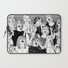 Wild girls. Black and white illustration. Laptop Sleeve