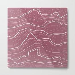 Tree rings or rock layers or sea waves purple Metal Print