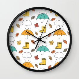 cute lovely autumn pattern with umbrellas, rain, clouds, leaves and boots Wall Clock