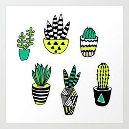 Cactus neon modern Art Print