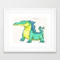 nan lawson Framed Art Prints featuring Lawson the existent dragon by Tara Dragon