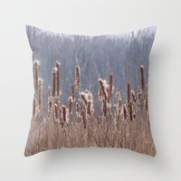 furry Throw Pillows featuring Furry Cattails by DanByTheSea