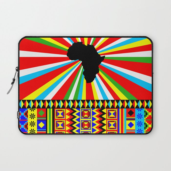 Kente Cloth Pattern with Africa Continent Sun Laptop Sleeve