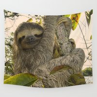 sloth Wall Tapestries featuring Sloth by MehrFarbeimLeben