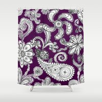 burgundy Shower Curtains featuring Burgundy by Marcela Caraballo