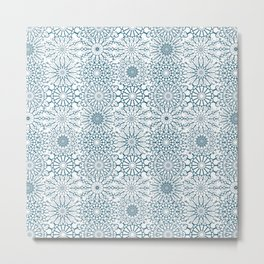 Blue Mandalas, meditative geometric pattern Metal Print