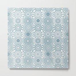 Blue Mandalas, meditative geometric pattern Metal Print