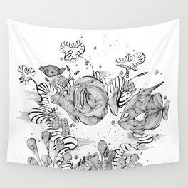 Underwater Tropical Fish Line Art Wall Tapestry