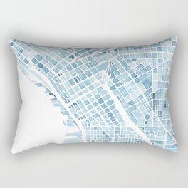 Map Seattle Washington Blueprint watercolor map Rectangular Pillow