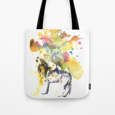 Howling Wolf in Splash of Color Tote Bag