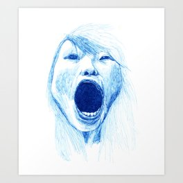 Woman Yawning or Screaming Art Print