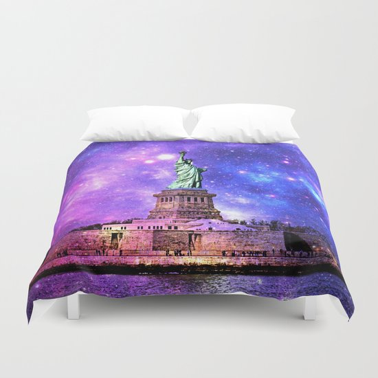 space Statue of Liberty Duvet Cover